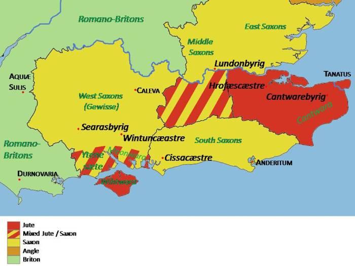 Jutish settlement map SE England